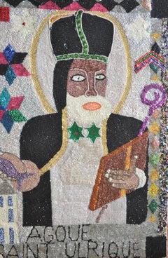 Saint Ulrique, Voodou Ceremonial Flag by Pascal