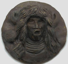 Buffalo Dancer Medallion, bronze pueblo buffalo dancer dark brown, Allan Houser