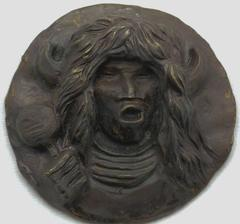 Buffalo Dancer Medallion, bronze pueblo buffalo dancer dark brown solid cast