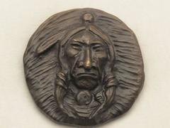 Plains Indian Medallion, bronze, Nambe, Allan Houser, small life-time casting