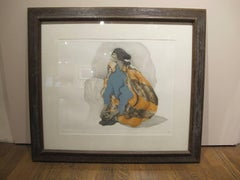 Untitled by RC Gorman, original lithograph ca 1979 framed Navajo Woman blanket