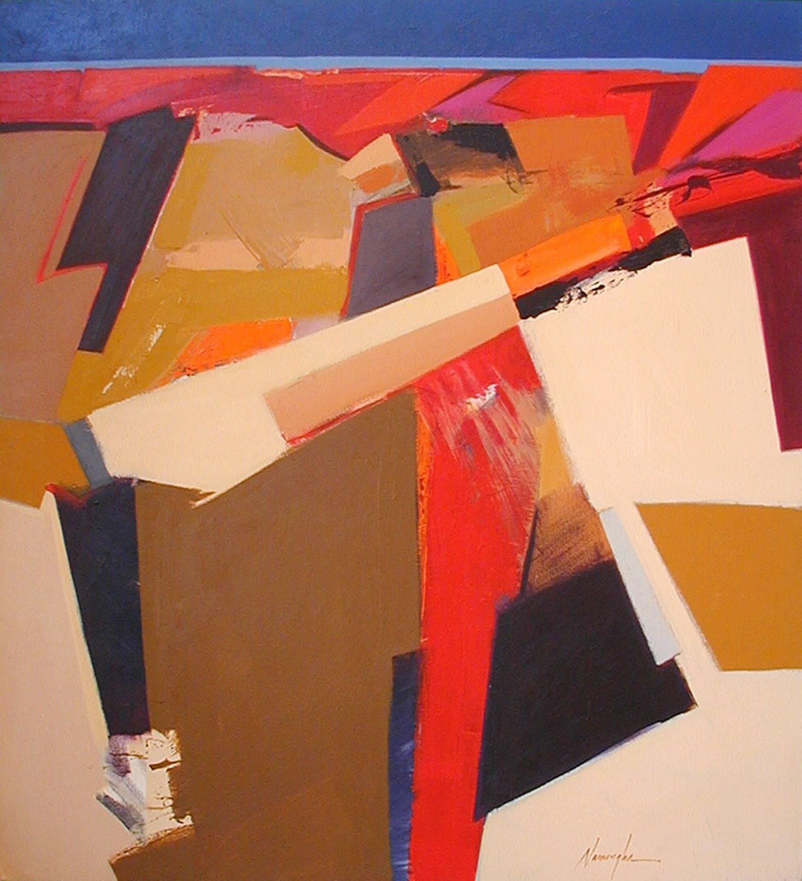 Red Mesa, Dan Namingha, Hopi abstract desert landscape red brown beige black