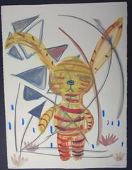 Tiger Boy, unique drawing on paper, yellow red blue animal