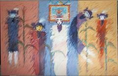 Corn Maidens and Butterfly Maiden, large horizontal painting, yellow, blue, red