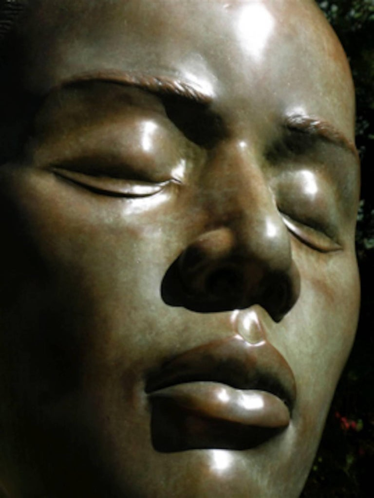 Reflections, bronze female bust, fabricated steel pedestal contemplative
