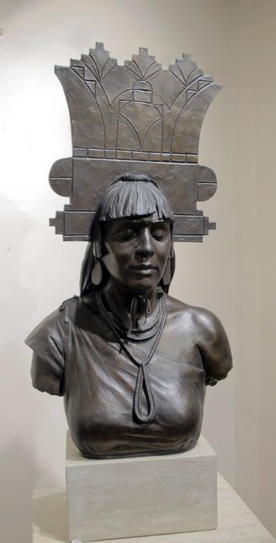 Tablita, Pueblo Indian dancer, female headdress bronze limestone base