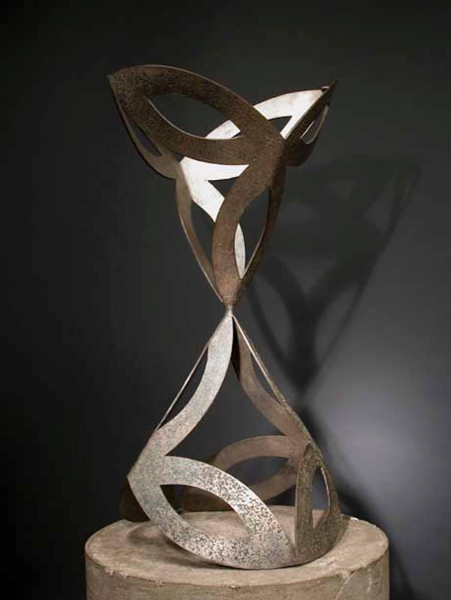 ABOVE & BELOW by Jeffrey Maron, abstract sculpture, NYC artist, metal, patina
