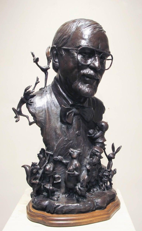 Chuck Jones, bronze portrait, Bugs Bunny, Roadrunner,Marvin the Martian PorkyPig - Art by Paul Moore