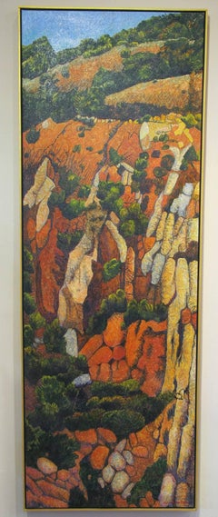 Red Hillside, vertical landscape painting, reds, oranges, cream, blue sky