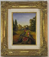 Landscape with Ruins, Parrots & Watermelon