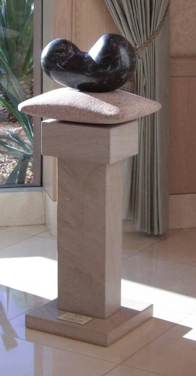 John Reeves Abstract Sculpture - Chrysalis, unique stone sculpture, granite, limestone contemporary sculpture