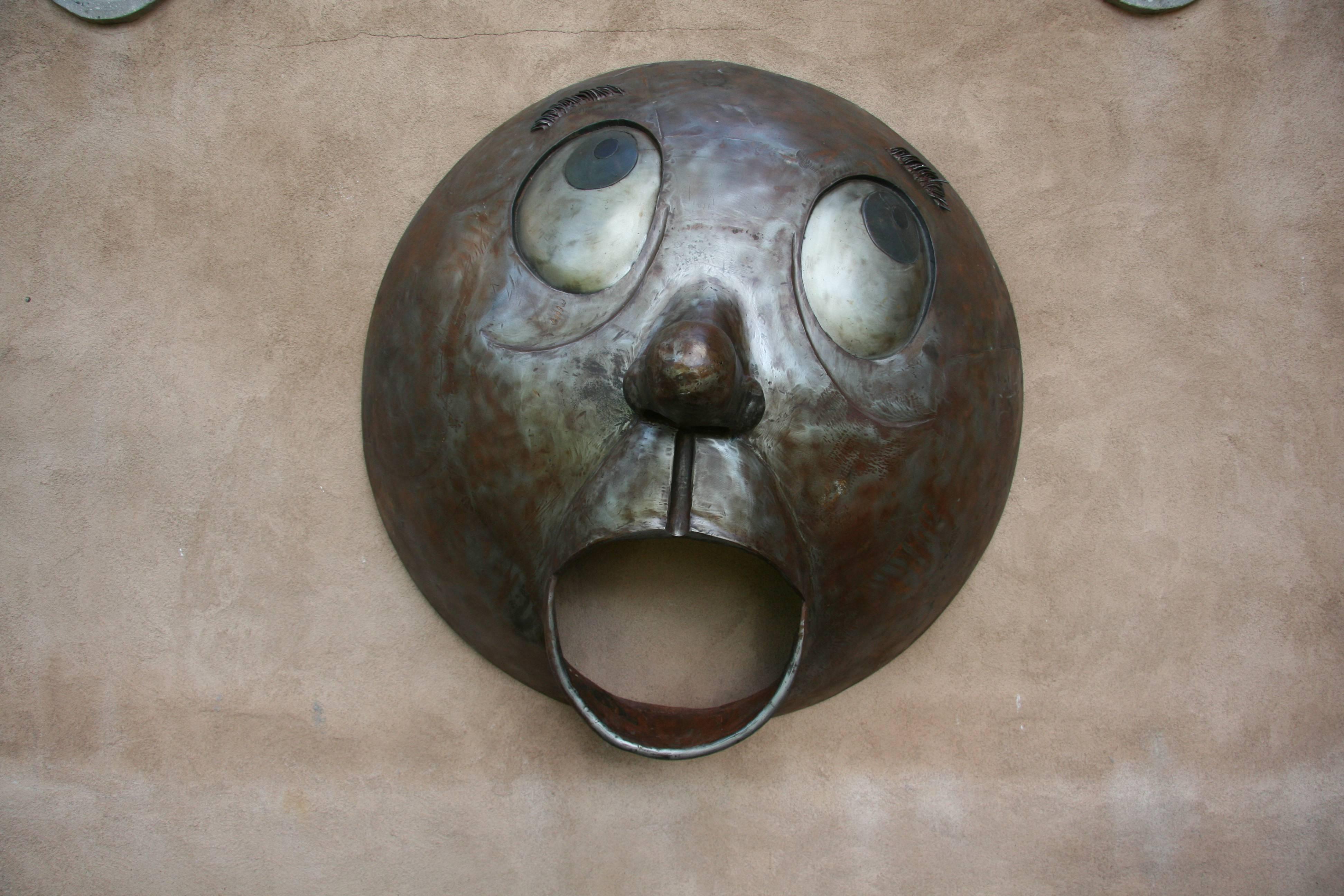 Yelp, Rodger Jacobsen, steel, large wall sculpture, big eyes, humorous, big eyes