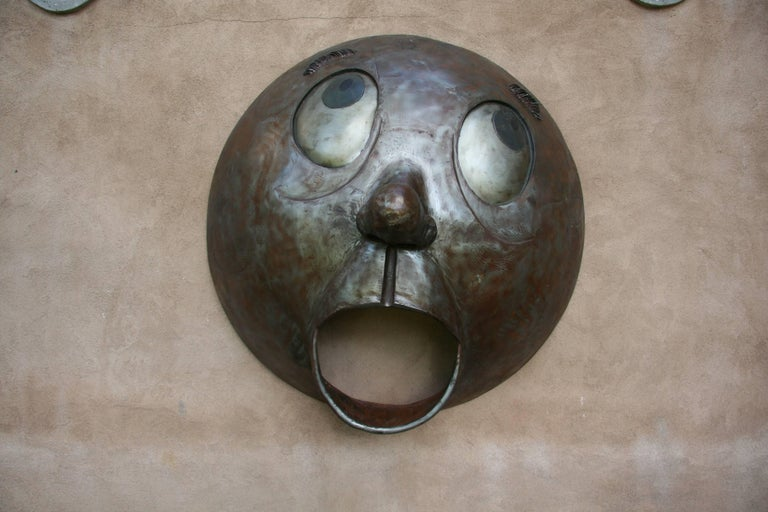 Yelp, steel, large wall sculpture, big eyes, humorous