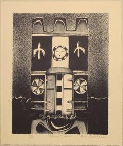 Hemis Figure by Dan Namingha Hopi kachina katsina black and white lithograph ed