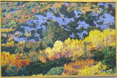 Autumn Aspens-Rio En Medio, New Mexico Landscape painting, yellow, blue, green,
