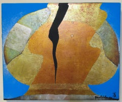 La Vie #71,Yoshida Kenji, nihonga painting, silver gold copper leaf cobalt,Japan