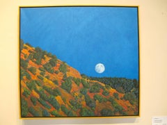 Ghost Moon Rising, New Mexico, desert landscape painting, full moon, blue sky