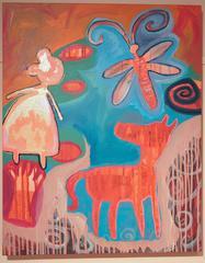 Missing Glove at Red Lake, original painting, reds, browns Navajo