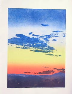 Night Fall From Studio, John Hogan, Santa Fe landscape rose blue yellow etching