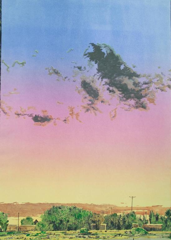 John Hogan Landscape Print - Sunset Agua Fria Village