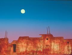 Dusk, Hopi Arizona landscape lithograph contemporary Native American Art blue