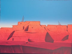 Talavie, Hopi desert landscape, village scene, blues, reds, Early morning