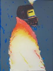 Kachin Mana, limited edition lithograph, Hopi Kachina woman, red, yellow, blue