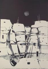 Night Pueblo, black & white, landscape, lithograph Dan Namingha Hopi
