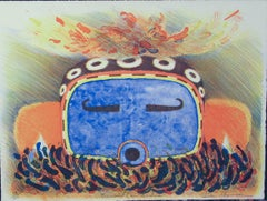 Speckled Corn Kachina, lithograph, Hopi