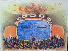 Speckled Corn Kachina, lithograph, Hopi