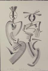 Spirits Dancing, black white limited edition lithograph Hopi