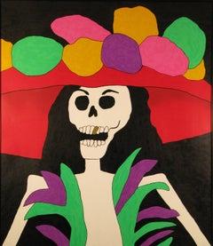 Sombrero Rojo, Eduardo Oropeza Day of the Dead, skeleton, gold tooth, red hat