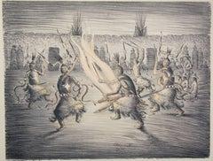 Apache Mountain Spirit Dancers, lithograph, Apache, Allan Houser Haozous black