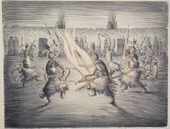 Apache Mountain Spirit Dancers, lithograph, Apache