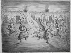 Apache Mountain Spirit Dancers, lithograph, black & white, Allan Houser