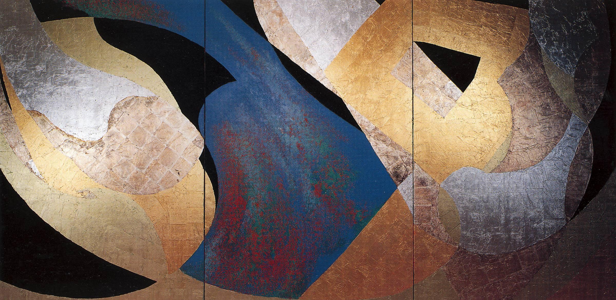Amithaba, Kenji Yoshida, nihonga paintings, gold silver copper leaf Japanese