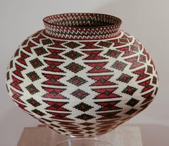 Rain Forest Basket Panama by Ana Cabezon, finely woven,red,green,black geometric