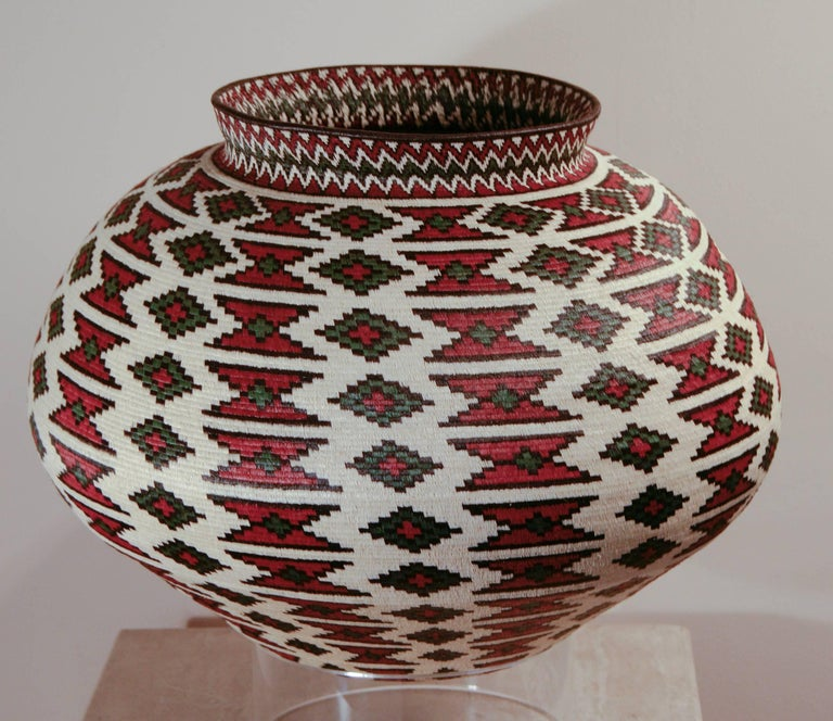 Rain Forest Basket Panama by Ana Cabezon, finely woven,red,green,black geometric - Art by Unknown