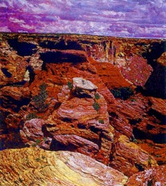 Canyon and Clouds, desert landscape painting, red, purple, brown John Hogan