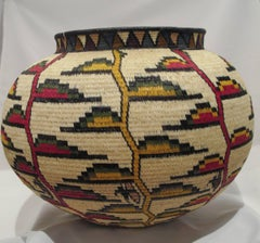 Rainforest Basket Wounaan Tribe red white yellow ginger green Panama