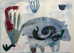 Melanie A. Yazzie - Keeping Time, monotype, bear, blues, reds