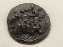 BUFFALO HUNT MEDALLION, bronze Apache hunting scene Allan Houser