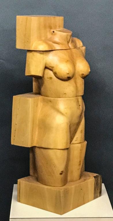 Troy Williams Nude Sculpture - Blocked Torso, wood, female nude