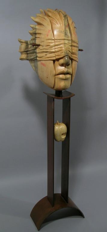 Guilt of Innocence (Postage Due Mr. Lee), wood and steel sculpture