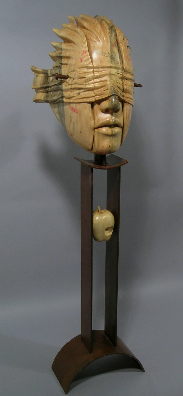 Guilt of Innocence (Postage Due Mr. Lee), wood and steel sculpture,Troy Williams - Sculpture by Troy Williams