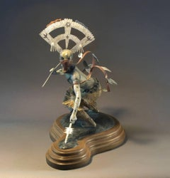Gahn Dancer, Apache Mountain Spirit Dancer, bronze sculpture colored patina