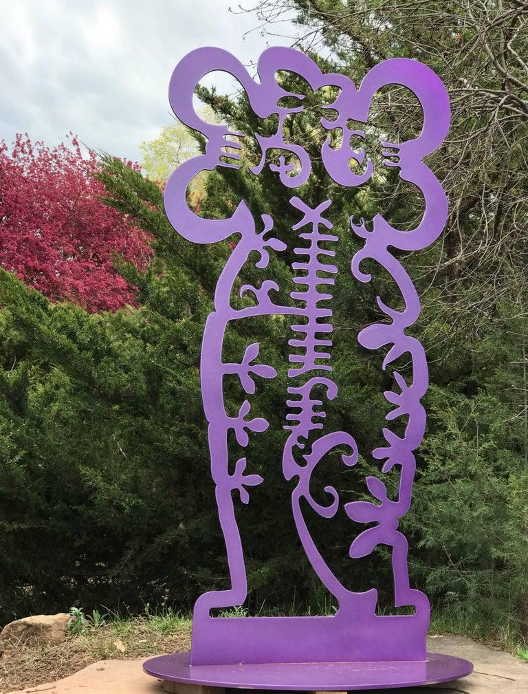 Pollen Keeper II Melanie Yazzie, aluminum sculpture, Navajo, purple, vertical - Sculpture by Melanie Yazzie