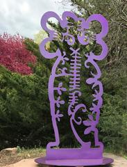 Pollen Keeper II, aluminum sculpture, Navajo, purple, Melanie Yazzie, IAIA Mocna