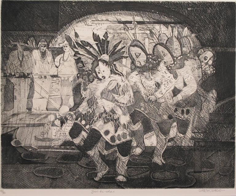 Yei Bi Chei, etching, Navajo ceremony, black, white