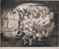 Yei Bi Chei, etching, Navajo ceremony, black, white